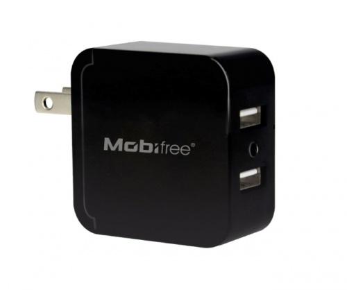 Mobifree Cargador de Pared MB-914192, 5V, 2 Puertos USB, Negro - Incluye Cable (USB - Lightning)