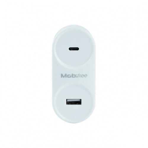 Mobifree Cargador de Pared MB-923354, 1x USB-C 1x USB 2.0, Blanco