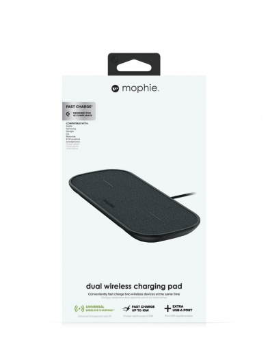 Mophie Cargador Inalámbrico Dual Wireless Charging Pad, 10W, USB, Negro