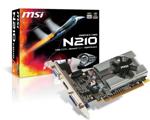 MSI GeForce 210, 1GB GDDR3, DVI, VGA, HDCP, PCI Express 2.0