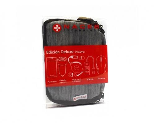 Naceb Kit de Viaje con Cargador Portátil NA-0401, 4400mAh, Negro - incluye Cargador para Auto/Mouse/ Hub USB/Cable USB