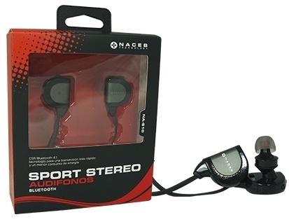 Naceb Audífonos Deportivos Intrauriculares NA-610, Inalámbrico, Bluetooth, 75cm, USB, Negro