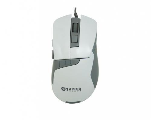 Mouse Naceb Láser NA-616, Alámbrico, USB, 2400DPI, Gris/Blanco