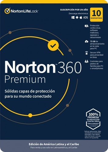 Norton 360 Premium/Total Security, 10 Dispositivos, 1 Año, Windows/Mac