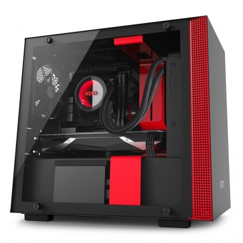 Gabinete NZXT H200i con Ventana, Mini-Tower, Mini-ITX, USB 3.0, sin Fuente, Negro/Rojo