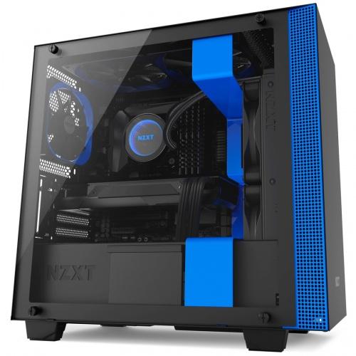 Gabinete NZXT H400 con Ventana, Mini-Tower, Mini-ITX/MicroATX, USB 3.0, sin Fuente, Negro/Azul