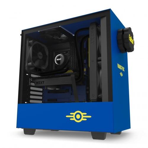 Gabinete NZXT H500 Vault Boy con Ventana, Midi-Tower, ATX/Micro-ATX/Mini-ITX, USB 3.0, sin Fuente, Azul/Amarillo