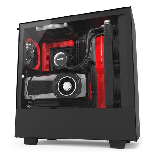 Gabinete NZXT H500i con Ventana, Midi-Tower, ATX/Micro-ATX/Mini-ITX, USB 3.0, sin Fuente, Negro/Rojo