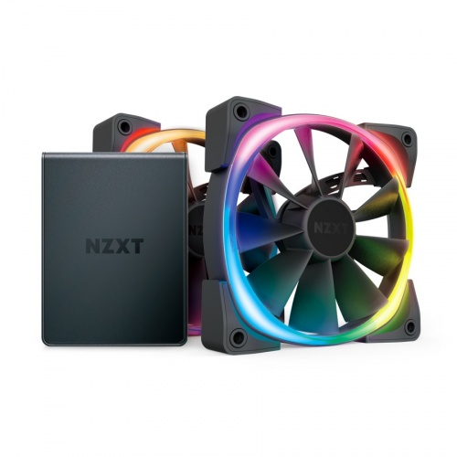 NZXT Ventilador Aer RGB 2 Starter Kit, 120mm, 500 - 1500RPM, Negro, 2 Piezas