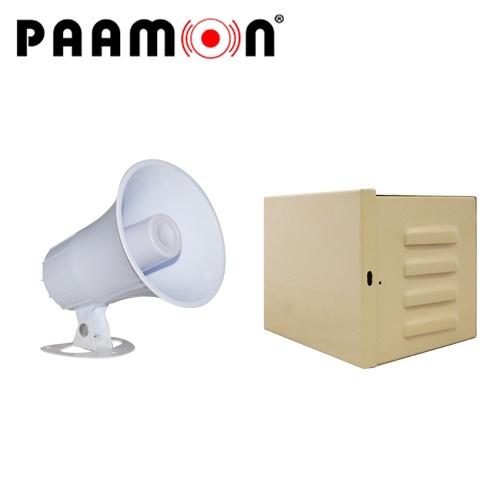 Paamon Sirena para Exterior PAM-SRE15W, Alámbrico, 2 Tonos, 102dB, Blanco, con Gabinete LINCE12 y Estrobo PAM-LED3
