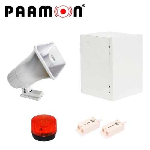 Paamon Sirena para Exterior PAM-SRE30W, Alámbrico, 2 Tonos, 119dB, Blanco, con Gabinete LINCE11, Estrobo y Tampers