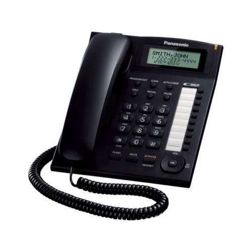 Panasonic Teléfono Alámbrico de 2 Líneas KX-T7716X-B, Altavoz, Negro