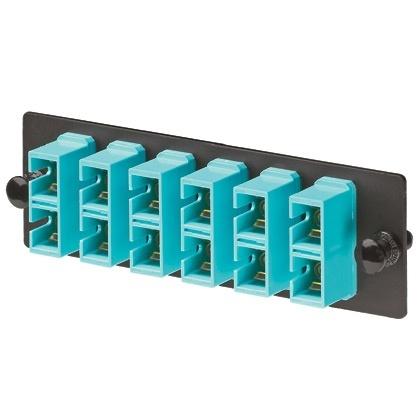 Panduit Panel de 6 Adaptadores de Fibra Óptica SC Duplex, Negro/Turquesa
