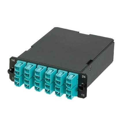 Panduit Módulo de 12 Adaptadores de Fibra Óptica LC Dúplex, OM4, Negro/Azul
