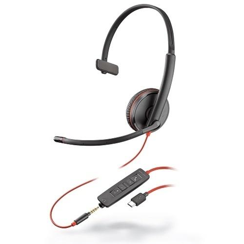 Plantronics Audífonos con Micrófono Monoaural Blackwire 3215, Alámbrico, USB/3.5mm, Negro