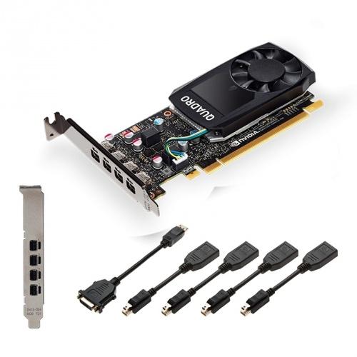 Tarjeta de Video PNY NVIDIA Quadro P1000 V2, 4GB 128-bit GDDR5, PCI Express x16 3.0 - incluye 4 adaptadores Mini DisplayPort - DisplayPort
