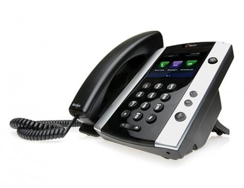 Poly Teléfono IP VVX 501 Skype, 12 Lineas, Altavoz, Negro