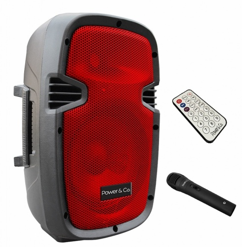 Power & Co Bafle con Subwoofer XP-8000RD, Bluetooth, Alámbrico/Inalámbrico, 3200W, Negro/Rojo