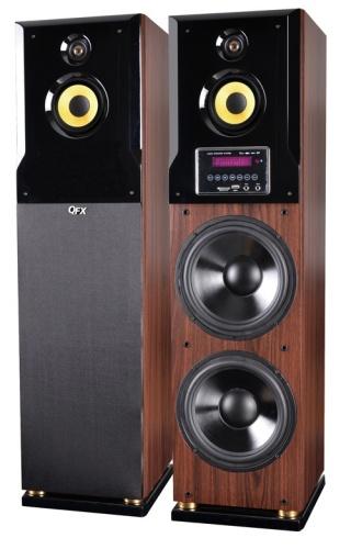 QFX Bocinas Tipo Torre BT-9500, Bluetooth, Inalámbrico, 7600W RMS, Madera
