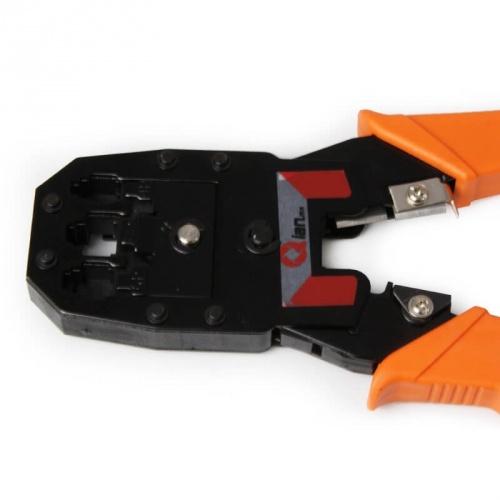 Qian Pinza Crimpeadora QAP-37401, RJ-11/RJ-12/RJ-45, Negro/Naranja