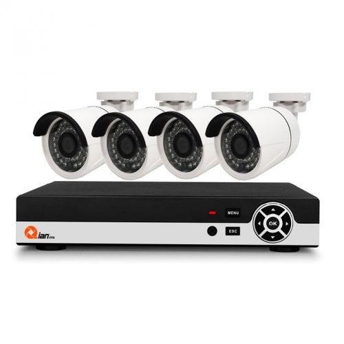 Qian Kit de Vigilancia QKC4D41901 de 4 Cámaras CCTV Bullet y 4 Canales, con Grabadora