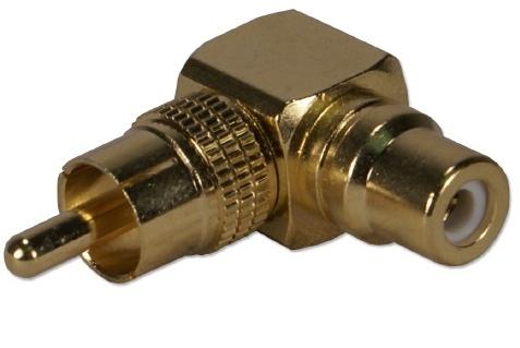 QVS Adaptador RCA Macho - RCA Hembra, Oro