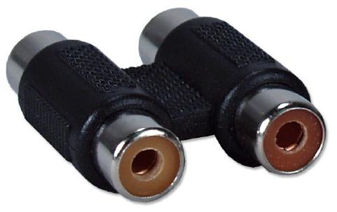 QVS Adaptador 2x RCA Hembra - RCA Hembra, Negro