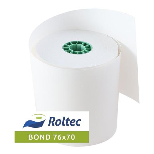 Roltec Rollo de Papel Bond, 76 x 70mm, 75 Rollos