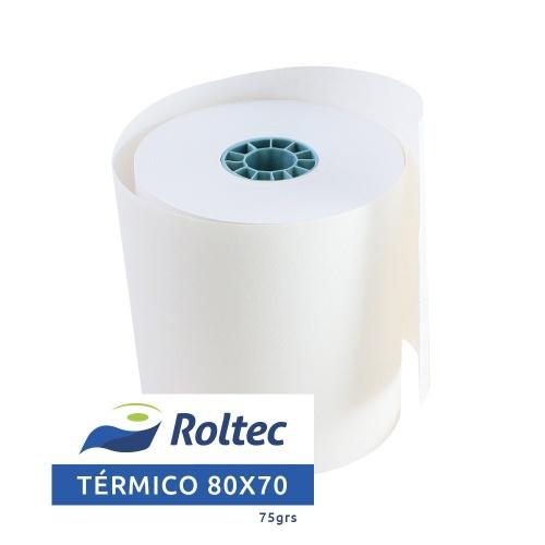 Roltec Rollo de Papel Térmico, 80 x 70mm, 75 Rollos