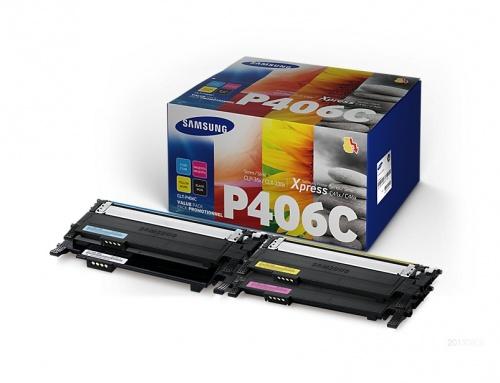 Kit Toner Samsung CLT-P406C Negro/Cyan/Magenta/Amarillo, 1500 Páginas