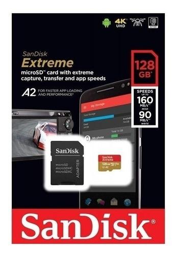 Memoria Flash Sandisk Extreme uSD, 128GB MicroSDXC UHS-I Clase 3, con Adaptador