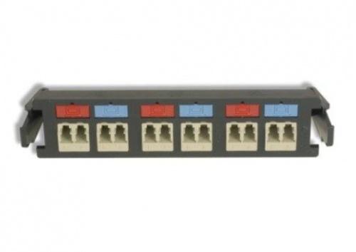 Siemon Panel de 6 Adaptadores de Fibra Óptica LC Duplex  Monomodo, Negro/Beige