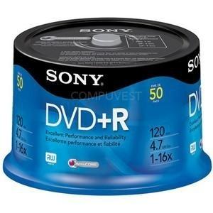 Sony Torre de Discos Virgenes para DVD, DVD+R, 16x, 50 Discos (50DPR47RS4)