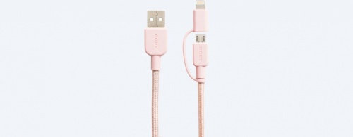 Sony Cable USB Tipo A Macho - Micro USB/Lightning Macho, 1.5 Metros, Rosa