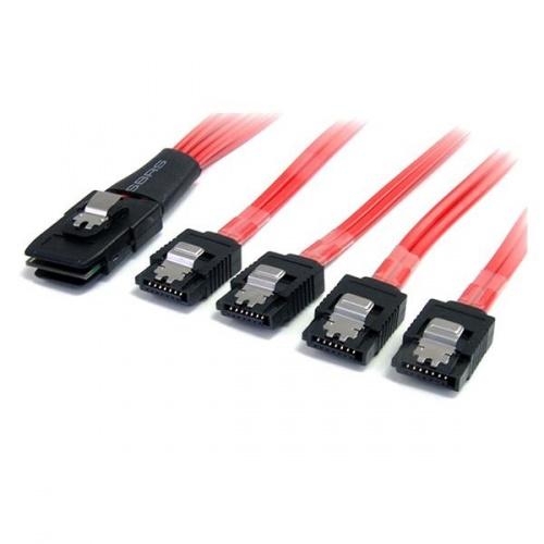 StarTech.com Cable Mini SAS SFF-8087 Macho - 4x SATA Macho, 50cm, Negro/Rojo