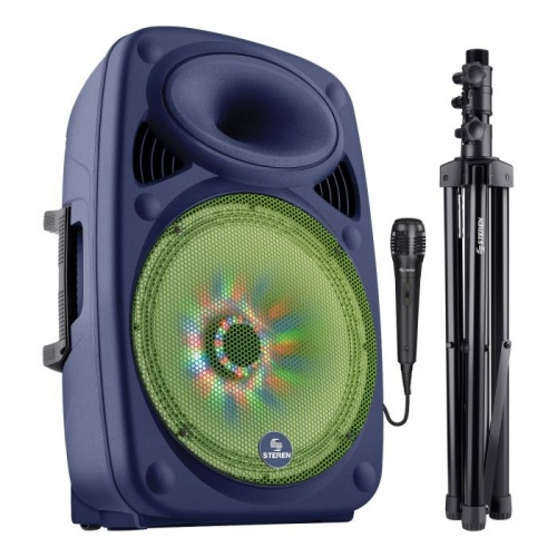 Steren Bocina BAF-1520BT, Bluetooth, Inalámbrico, 180W RMS, 2000W PMPO, USB, Negro/Verde