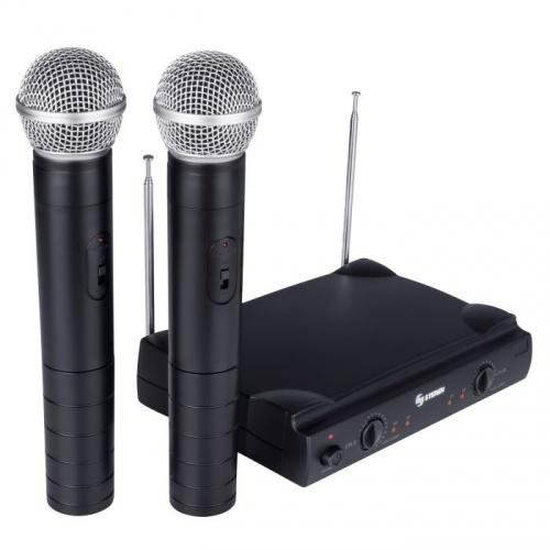Steren Micrófono con Receptor WR-055, Inalámbrico, Negro - incluye 2 Micrófonos