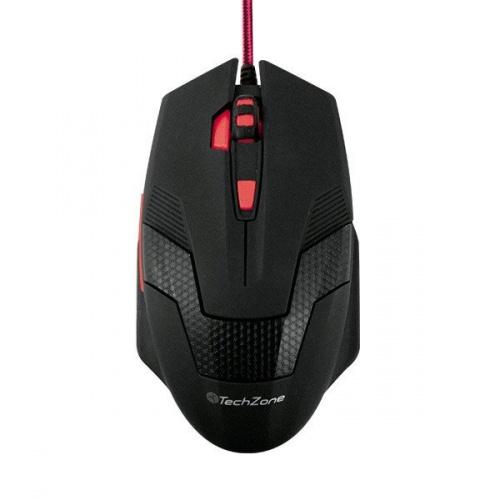 Mouse Gamer Techzone Rueda TZ16MOU01-GAME, Alámbrico, USB, 2400DPI, Negro