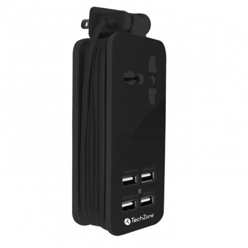 Techzone Cargador de Pared, 4x USB, Negro