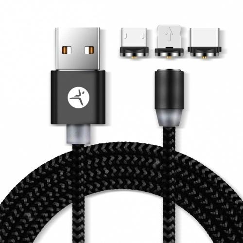 TechZone Cable de Carga USB A Macho - Micro USB/USB C/Lightning Macho, 1 Metro, Negro, para iPhone/iPad/Smartphone
