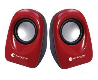 TechZone Mini Bocinas Multimedia TZSPK-02, Alámbrico, 3.5mm, Rojo