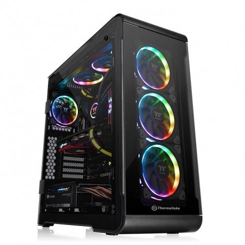 Gabinete Thermaltake View 32 RGB Edition con Ventana, Midi-Tower, ATX/Micro-STX/Mini-ITX, USB 2.0/3.1, sin Fuente, Negro