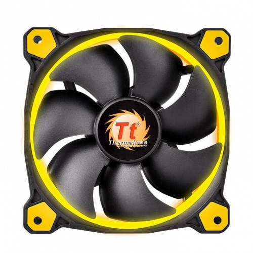 Ventilador Thermaltake Riing 14, LED Amarillo, 140mm, 1400RPM, Negro/Amarillo
