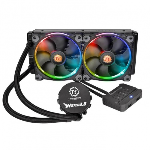 Thermaltake Water 3.0 Riing RGB 240 Enfriamiento Líquido para CPU, 2x 120mm, 800-1500RPM