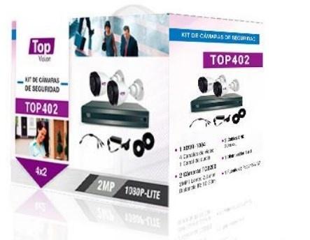 Topvision Kit de Vigilancia TOP402 de 2 Cámaras CCTV Bullet y 4 Canales, con Grabadora