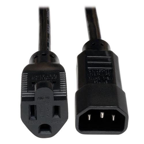 Tripp Lite Cable de Poder NEMA 5-15R Macho - C14 Acoplador Hembra, 30cm, Negro