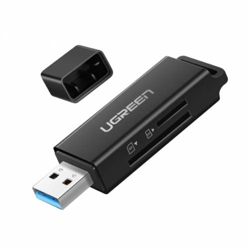 Ugreen Lector de Memoria 40752, SD/MicroSD, USB 3.0, Negro