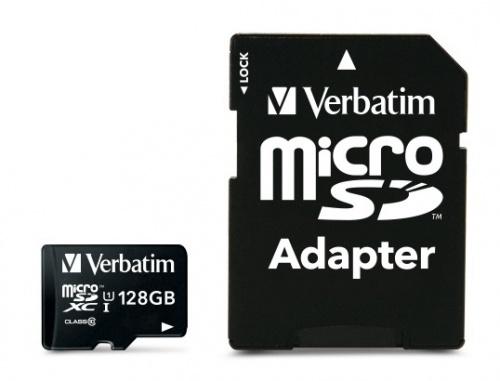 Memoria Flash Verbatim, 128GB MicroSDHC UHS-I Clase 10, con Adaptador