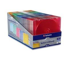 Verbatim Caja Delgada para CD/DVD, Multicolor, 50 Piezas