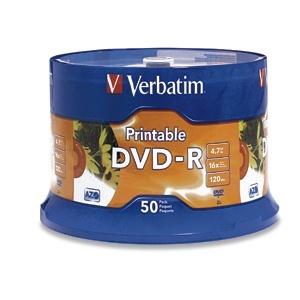 Verbatim Torre de Discos Virgenes para DVD, DVD-R, 50 Discos